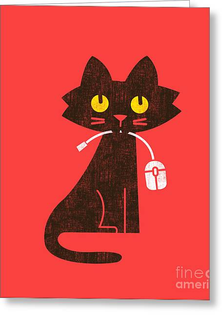 Cute Greeting Cards - Hungry hungry cat Greeting Card by Budi Kwan
