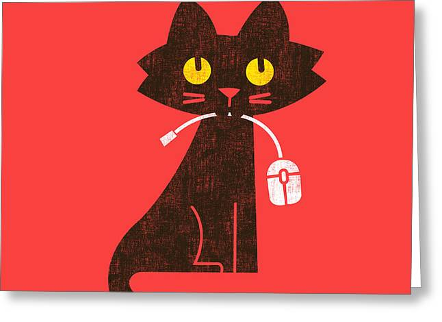 Mouse Greeting Cards - Cat and Mouse Greeting Card by Nava Seas