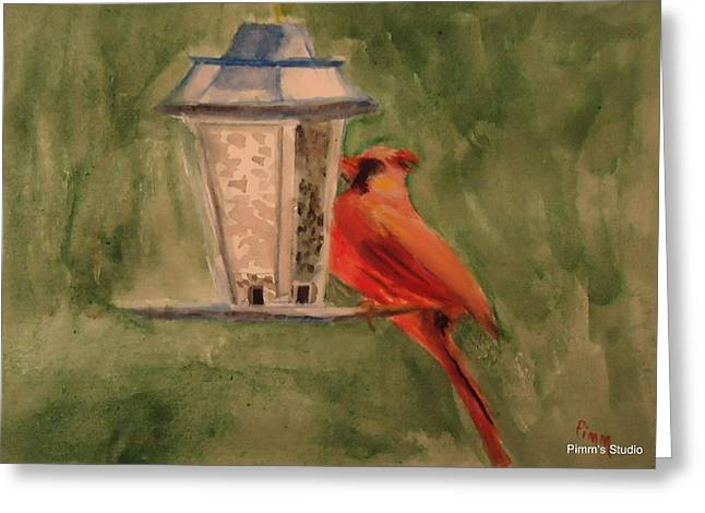 Hungry Red Greeting Card by Betty Pimm