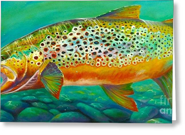 """rainbow Trout"" Greeting Cards - Hungry Spots Greeting Card by Yusniel Santos"