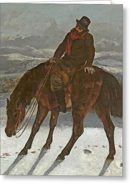 Hunter Greeting Cards - Hunter On Horseback, C.1864 Greeting Card by Gustave Courbet