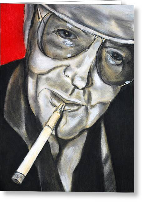 Hunter Pastels Greeting Cards - Hunter S. Thompson Greeting Card by Tony Lazzari