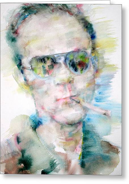 Stockton Paintings Greeting Cards - HUNTER S. THOMPSON - watercolor portrait Greeting Card by Fabrizio Cassetta