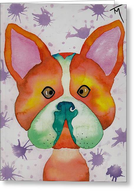 Boston Terrier Watercolor Greeting Cards - Hunter Greeting Card by Teresa Meza
