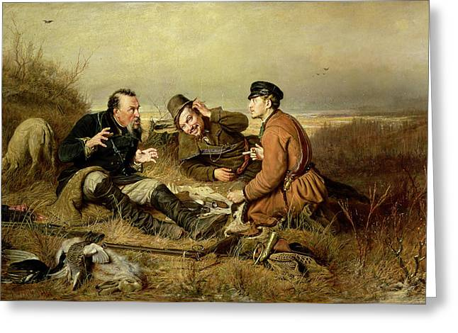 Rifle Photographs Greeting Cards - Hunters, 1816 Greeting Card by Vasili Grigorevich Perov