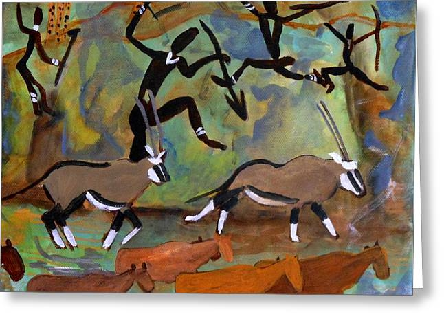 Carolinestreetart Greeting Cards - Hunters and Gemsbok Rock Art Greeting Card by Caroline Street