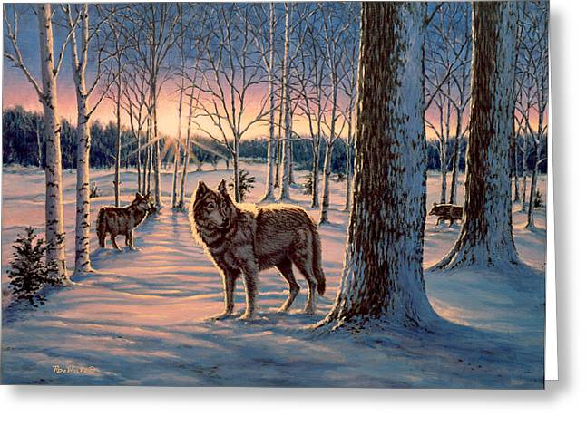 Wolf Greeting Cards - Hunters at Twilight Greeting Card by Richard De Wolfe