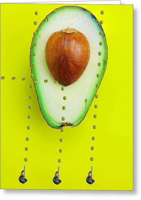 Green Beans Digital Art Greeting Cards - Hunters depicting Rutherford atomic model by Avocado food physics Greeting Card by Paul Ge