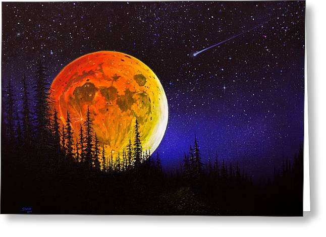 Recently Sold -  - Harvest Art Greeting Cards - Hunters Harvest Moon Greeting Card by C Steele
