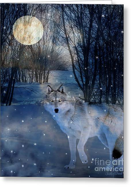 Hunter's Moon Greeting Card by Judy Wood