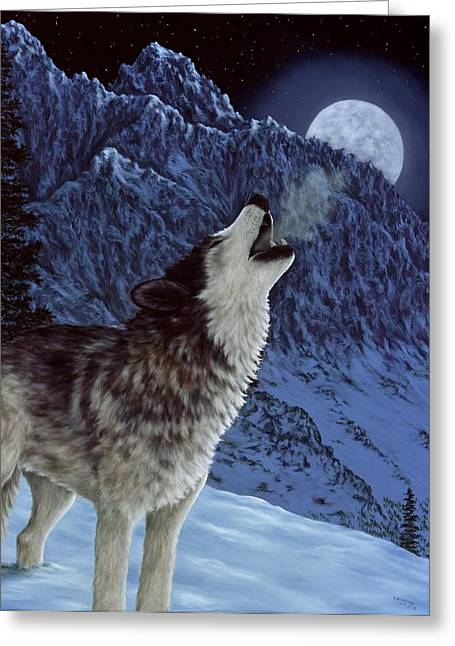 Snowscape Paintings Greeting Cards - Hunters Moon Greeting Card by Rick Bainbridge