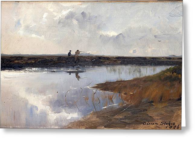 Skagen Greeting Cards - Hunters on the moor north of Skagen Greeting Card by Adrian Scott Stokes