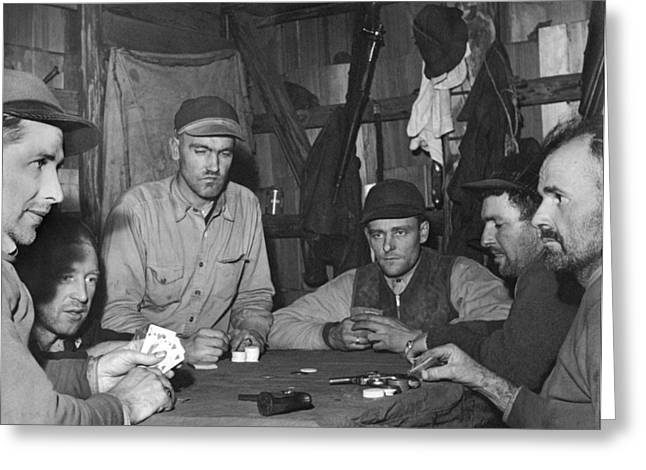 Playing Cards Greeting Cards - Hunters Playing Poker Greeting Card by Underwood Archives