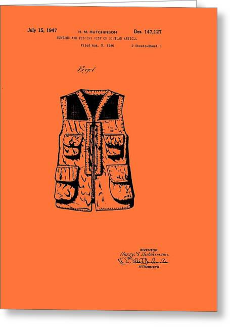Hunting And Fishing Vest Patent Greeting Card by Mountain Dreams