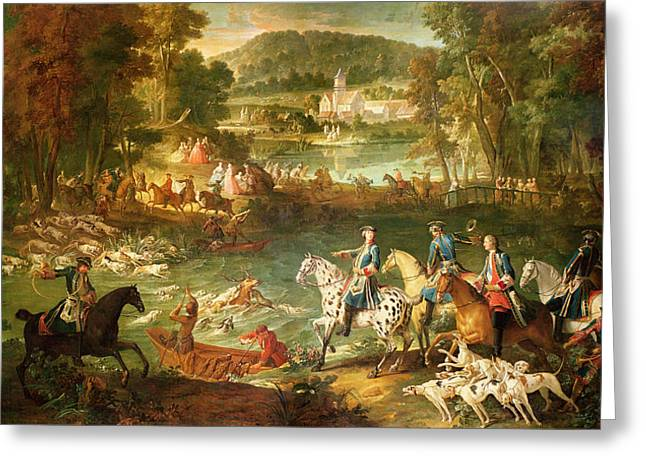 Attack Dog Greeting Cards - Hunting At The Saint-jean Pond In The Forest Of Compiegne, Before 1734 Oil On Canvas Greeting Card by Jean-Baptiste Oudry