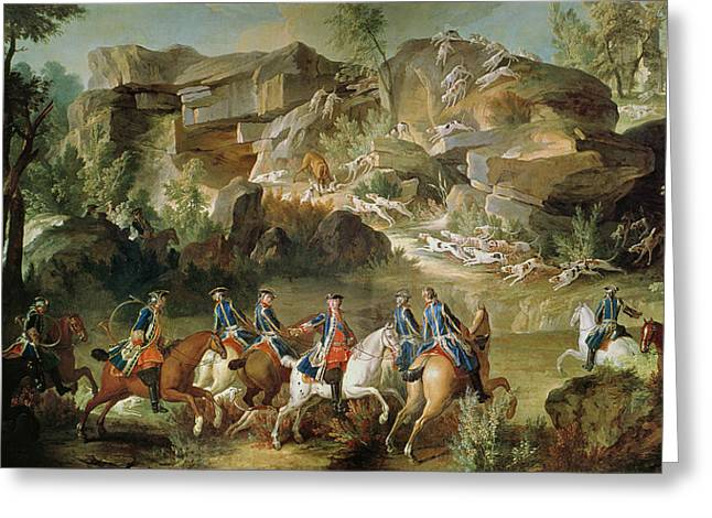 Huntsman Photographs Greeting Cards - Hunting In The Forest Of Fontainebleau At Franchard Oil On Canvas Greeting Card by Jean-Baptiste Oudry