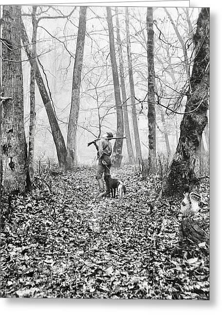 Hunting Bird Greeting Cards - HUNTING in WEST VIRGINIA  1900 Greeting Card by Daniel Hagerman