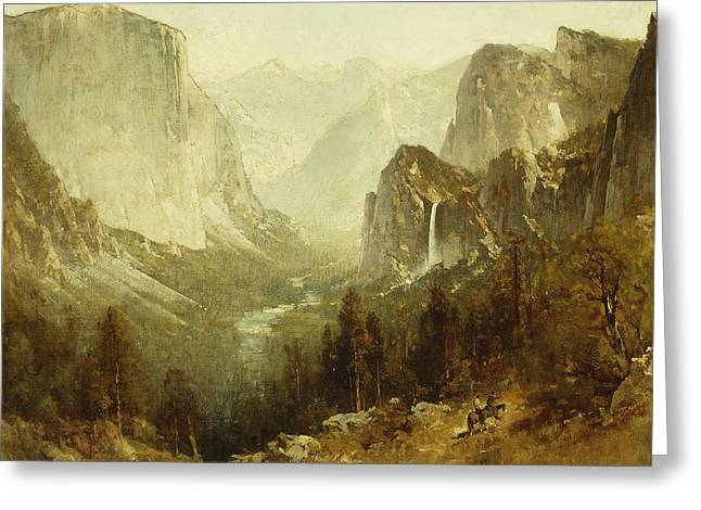 Ravine Greeting Cards - Hunting In Yosemite Greeting Card by Thomas Hill