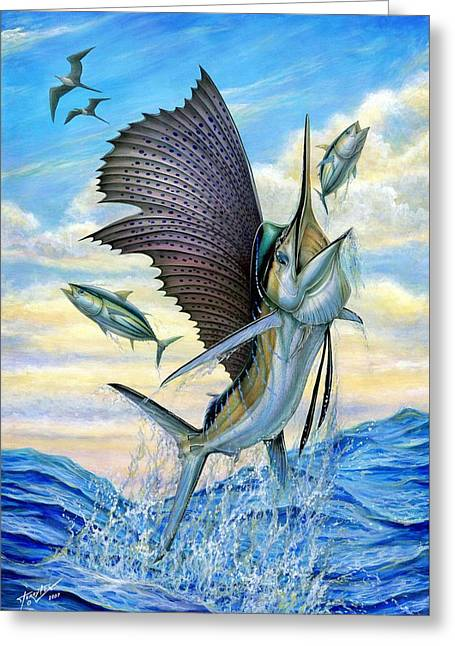 Vela Greeting Cards - Hunting Of Small Tunas Greeting Card by Terry Fox