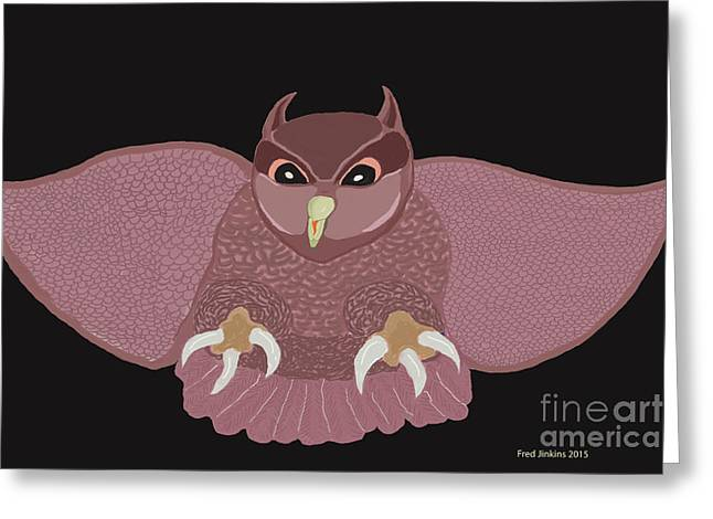 Hunting Bird Greeting Cards - Hunting Owl Greeting Card by Fred Jinkins