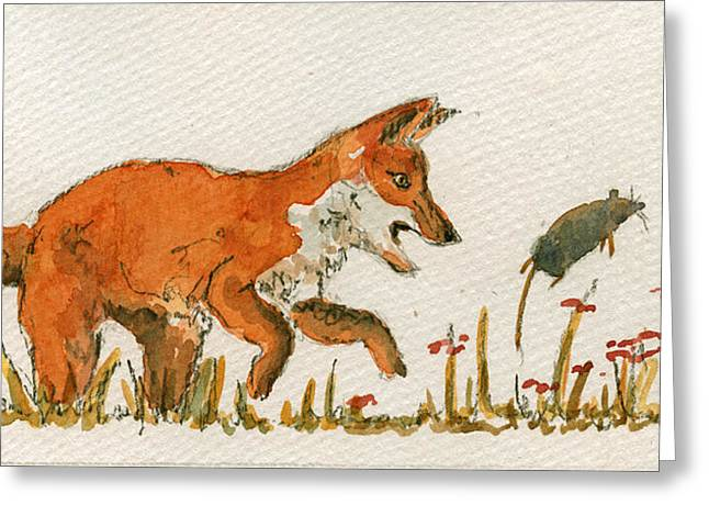 Fox Hunting Greeting Cards - Hunting red baby fox Greeting Card by Juan  Bosco