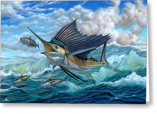 Small Greeting Cards - Hunting Sail Greeting Card by Terry Fox