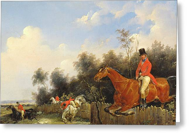 Scene De Chasse; Hunter; Hunters; Huntsman; Hunt; Riding; Horse; Rider; Outfit; Jumping; Fence; Landscape Greeting Cards - Hunting Scene Greeting Card by Bernard Edouard Swebach