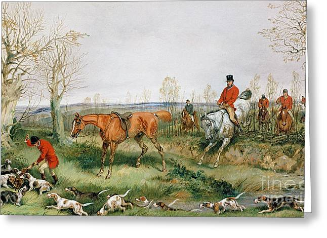 Hounds Paintings Greeting Cards - Hunting Scene Greeting Card by Henry Thomas Alken