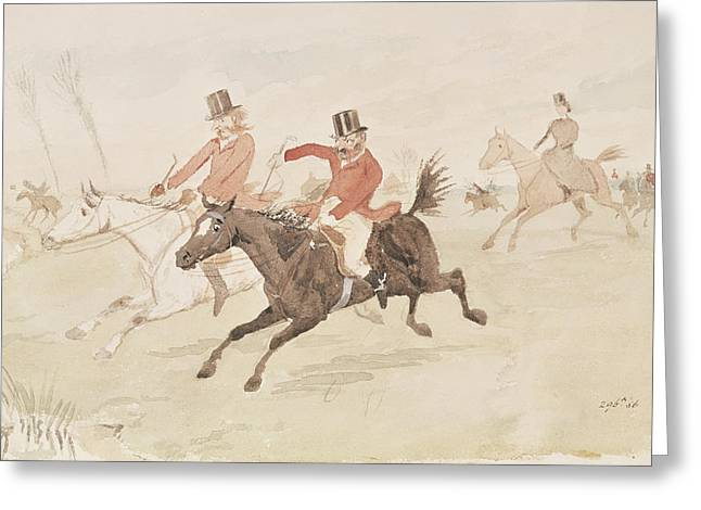 Side Saddle Greeting Cards - Hunting Scene Wc On Paper Greeting Card by English School