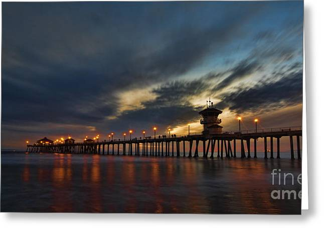 Southern California Sunset Beach Greeting Cards - Huntington Beach at Night Greeting Card by Peter Dang