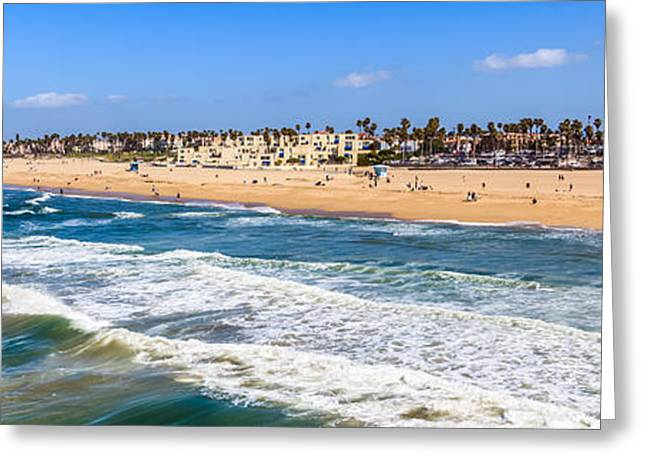 Pacific Ocean Prints Greeting Cards - Huntington Beach California Panorama Photo Greeting Card by Paul Velgos
