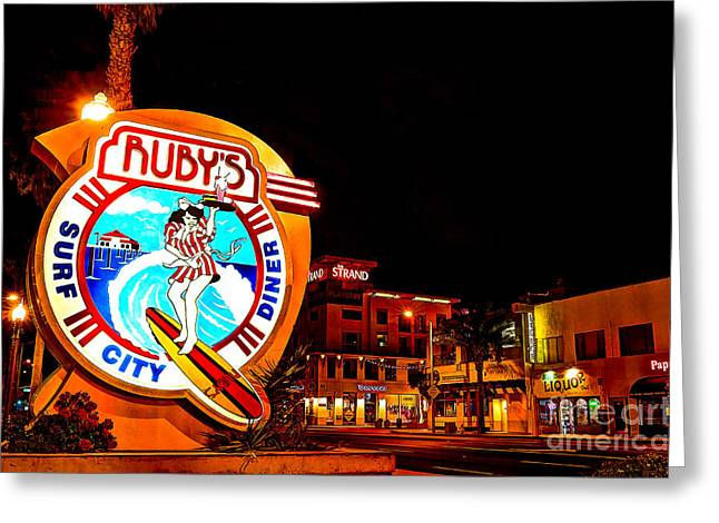 Pch Greeting Cards - Huntington Beach Downtown Nightside 2 Greeting Card by Jim Carrell