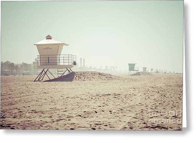 Beach Photography Greeting Cards - Huntington Beach Lifeguard Tower #1 Retro Photo Greeting Card by Paul Velgos