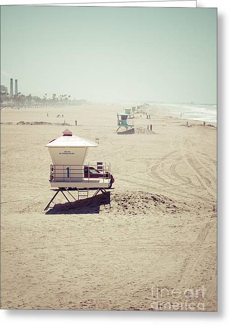 Huntington Beach Greeting Cards - Huntington Beach Lifeguard Tower #1 Vintage Picture Greeting Card by Paul Velgos