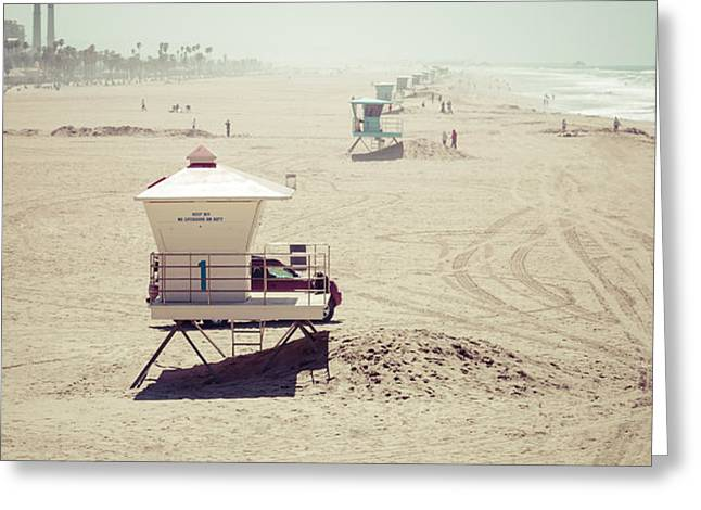 Huntington Beach Lifeguard Tower #1 Vintage Picture Greeting Card by Paul Velgos