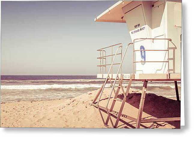 California Beach Art Greeting Cards - Huntington Beach Lifeguard Tower Vintage Panorama Greeting Card by Paul Velgos