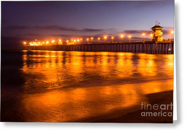 Historic City Pier Greeting Cards - Huntington Beach Pier at Night Greeting Card by Paul Velgos