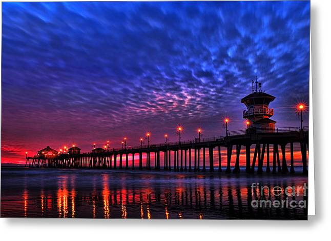Landscape Framed Prints Pyrography Greeting Cards - Huntington Beach Pier at Night Greeting Card by Peter Dang