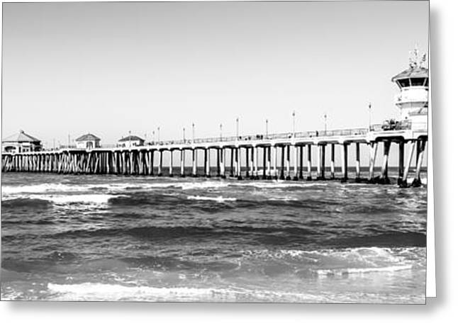 Ocean Black And White Prints Greeting Cards - Huntington Beach Pier Black and White Panorama Greeting Card by Paul Velgos
