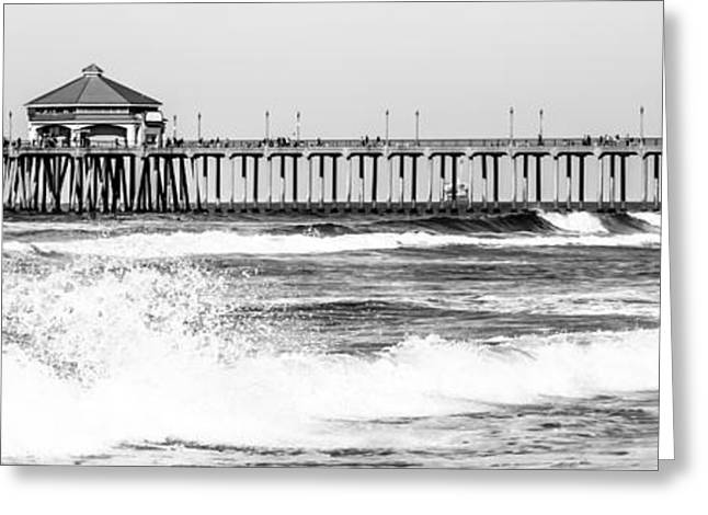 Ocean Black And White Prints Greeting Cards - Huntington Beach Pier Black and White Panoramic Picture Greeting Card by Paul Velgos