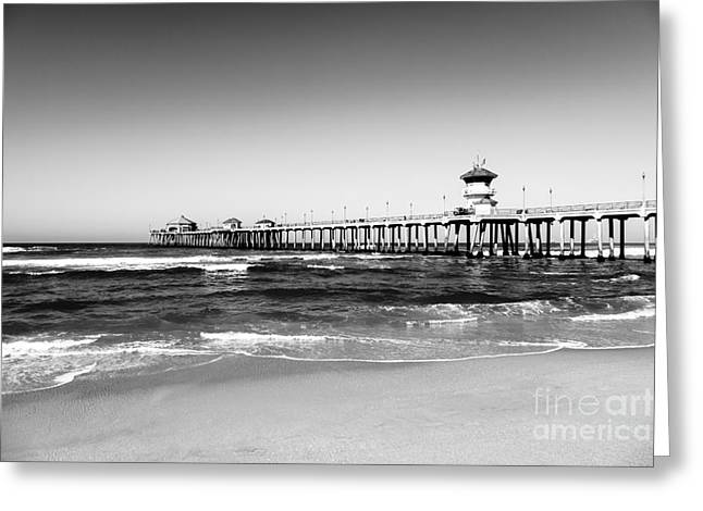 Huntington Beach Greeting Cards - Huntington Beach Pier Black and White Picture Greeting Card by Paul Velgos