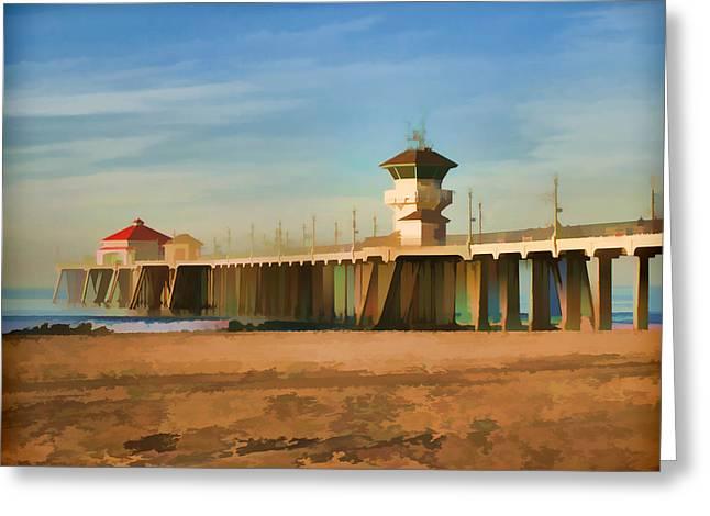 Huntington Beach Pier California Greeting Card by Flo Karp