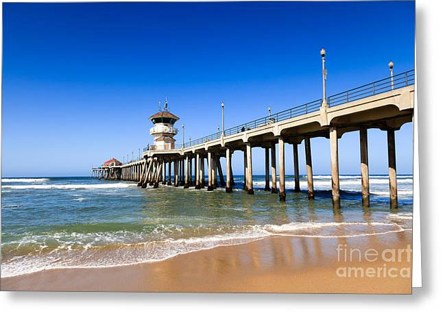 Historic City Pier Greeting Cards - Huntington Beach Pier in Southern California Greeting Card by Paul Velgos