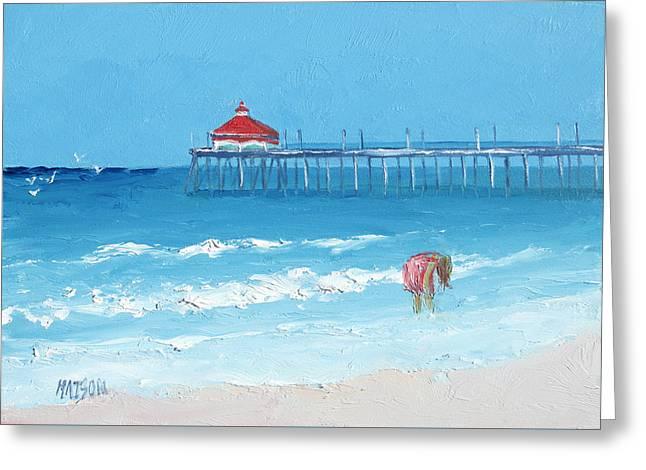 California Beach Art Greeting Cards - Huntington Beach Pier Greeting Card by Jan Matson