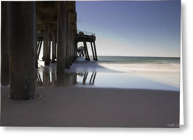 Pier Pilings Greeting Cards - Huntington Beach Pier - Looking Out Greeting Card by Heidi Smith