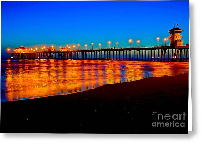 Beach At Night Greeting Cards - Huntington Beach Pier - Nightside Greeting Card by Jim Carrell