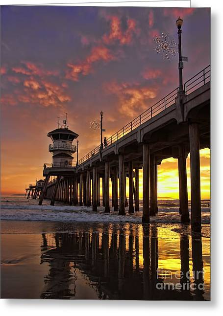 Huntington Beach Pier Greeting Card by Peggy J Hughes