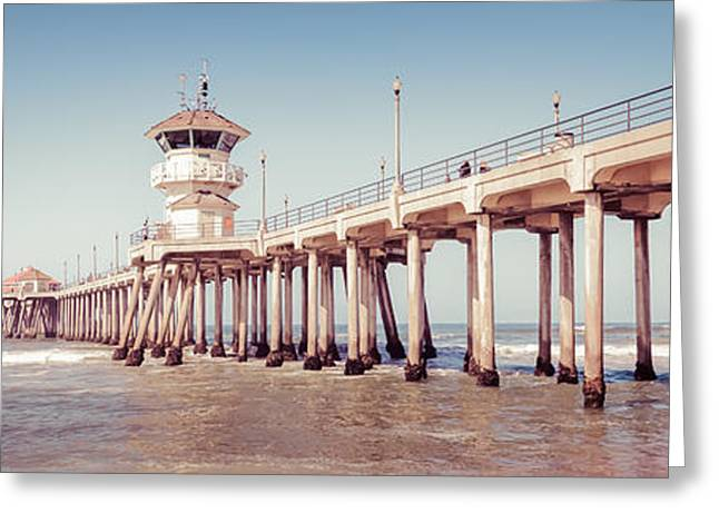 Historic City Pier Greeting Cards - Huntington Beach Pier Retro Panorama Picture Greeting Card by Paul Velgos