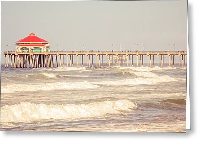 Historic City Pier Greeting Cards - Huntington Beach Pier Retro Panoramic Picture Greeting Card by Paul Velgos