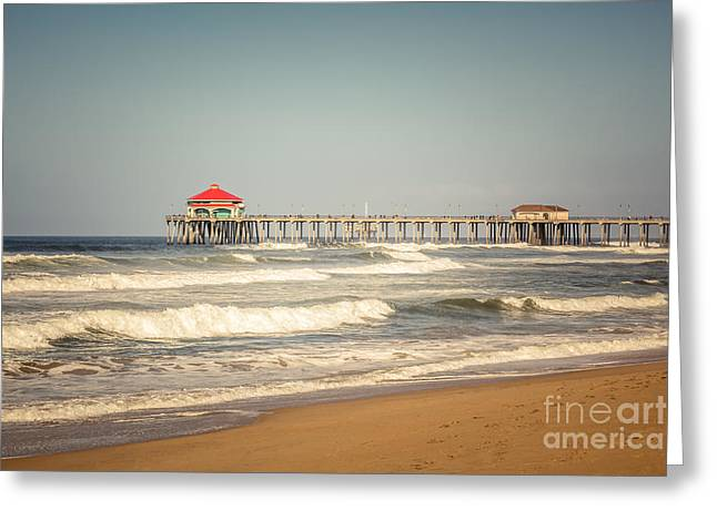 Historic City Pier Greeting Cards - Huntington Beach Pier Retro Toned Photo Greeting Card by Paul Velgos
